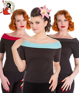 HELL BUNNY 50's CHLOE TOP off the shoulder POLKA jersey BLACK XS-4XL