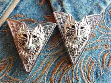 Men's Wolf Head Excellent Gorgeous Solid 925 Sterling Silver Men's Collar Tips