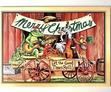 3 Louisiana Christmas Cards Let The Good Times Roll Alligators Crawfish Pelican