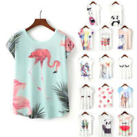 Summer Women Casual Tops Floral Animal Print Batwing T-Shirts Loose Crew Blouse