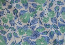 Blue Sanganeri Running Hand Block Print Pure Cotton Fabric 3 Yard Indian New