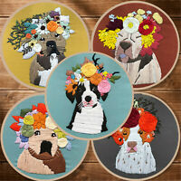 Floral Crown Doggie Embroidery Starter Cross Stitch Kits Sewing Craft at Home