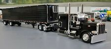 1/64 DCP PETERBILT 389 BLACK & REFRIGERATED BLACK SPREAD AXLE TRAILER NEW IN BOX
