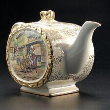 Vintage/Antique Sadler Barrel Shaped Teapot c1937 Art Deco Gilded Gold Exc