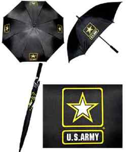 "United States Army Star Strong Black  23"" Long Rain Wooden Umbrella"