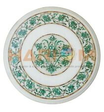 "16"" Round White Marble Coffee Table Top Malachite Floral Inlay Garden Decor W461"