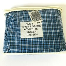 NEW Timber Stars Blue Black White Plaid Queen bedskirt Bed Skirt J C Penney 15""