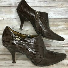 Circa Joan & David Womens River 8M Brown Bootie Leather Pointed Toe Zip Snake