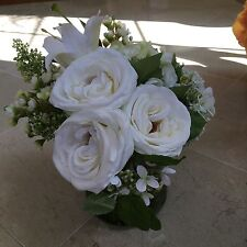 NDI Floral White Roses and Hydrangeas in Tangled Greenery Acrylic Water Vase