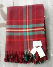 Johnstons of Elgin Scotland 100% Wool Throw Lim Ed 300 – Red Plaid – New