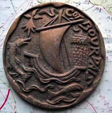 Cdt Bourdais French Navy Ship Metal Tampion Plaque Crest