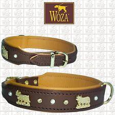 WOZA Premium Dog Collar Alps Cows Full Leather Padded Soft Genuine Cow Napa F805