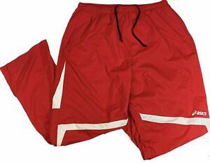 Asics 3XL Activewear Surge Warm Up Drawstring Pants Red Polyester Mesh Lining