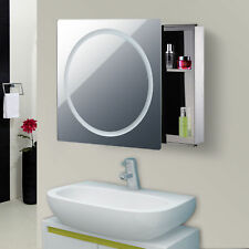 "28"" LED Wall Mounted Sliding Bathroom Mirror Medical Cabinet w/ Storage Shelves"
