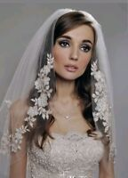 UK 2 Tier White Ivory Elbow Length Pearls Bridal Wedding Veil With Comb Lace