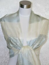 NEW 100% Silk Scarf Shawl Blue G1010