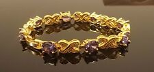 PURPLE AMETHYST YELLOW GOLD GP TENNIS BRACELET FASHION JEWELRY 7.25 INCH [301]