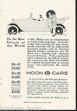 1917 MOON CARS advertisement, Moon Motors, vintage automobile advert, roadster