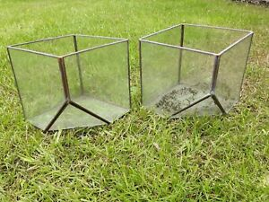 Glass terrariums x2,  candle holders