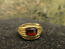 Men's Barrel Cut Garnet Ring In 10K Solid Yellow Gold with 14 Diamonds 9.3 grams