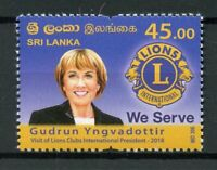 Sri Lanka 2018 MNH Lions Club International Gudrun Yngvadottir 1v Set Stamps