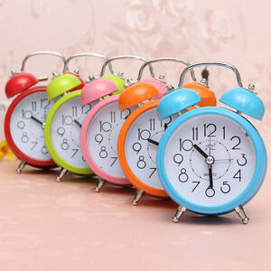 Classic Double Bell Mini Alarm Clock Quartz Movement Bedside Night Analog Clock