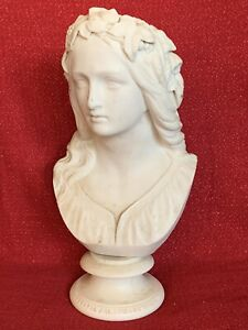"Large 12"" Antique Parian OPHELIA Bust W C Marshall Crystal Palace Art Union 1859"