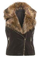 Womens Faux Leather Biker Fur Vest PU Gilet Motorcycle Crop Jacket Waist UK 8-16 Black 10