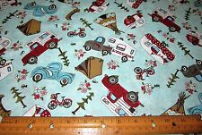 1 yard GLAMPING GYPSIES on AQUA 100% Cotton Fabric Caravan Truck Tent Trailers