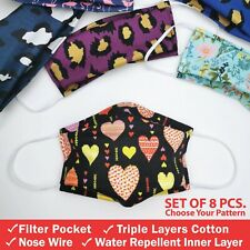 8 Pack of Triple Layers Cotton Face Mask with Nose Wire & Filter Pocket