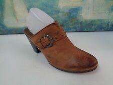 Womens BORN BOC Brown Leather Top 11/43 Buckle Strap Detail High Heel Mule Clog
