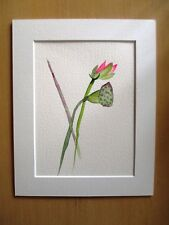 ORIGINAL ART - Pink lotus flower watercolour with mat board