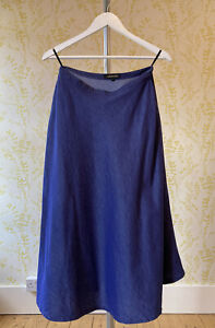 JAEGER indigo blue chambray flared midi length skirt UK 12 with pockets