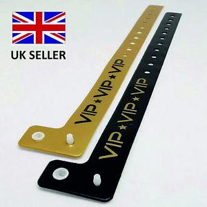 Gold/Black L Shaped Plastic VINYL Security Wristbands Printed VIP NIGHTCLUB
