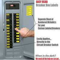 Circuit Breaker Labels for Electricians Homeowners Seniors Applies to the Switch