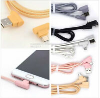 90 Degree Angle 6FT Fast Charge Micro USB Cable Rapid Power Sync Cord Charger L