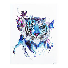 Blue Temporary Tattoo Stickers Body Art Waterproof Big Tiger Watercolor