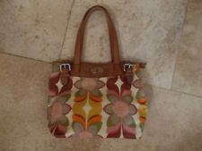 Fossil Key Per Tote Bag Handbag  Coated Canvas  Leather Straps  EUC !!
