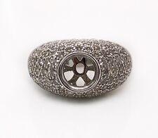 2.17 Ct Natural Diamond Semi Mount Wide Ring 14k White Gold Round Center 7.5mm
