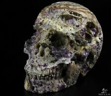 """5.0"""" FLUORITE Carved Crystal Skull, Realistic, Crystal Healing"""