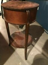 Antique Walnut wood Sewing Table Round Work Table for beside a chair 1900s