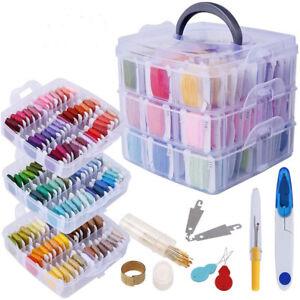 150 Colors Embroidery Thread Floss Cross Stitch Craft Organizer Storage Box Set
