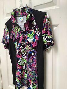 Kevan Hall Sport Women's Golf Shirt M Multicolored Short Sleeves Massive 1/4 Zip