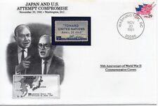 La segunda guerra mundial 1941 Japón/US intento de compromiso para cubrir sello de guerra (EE. UU./Danbury Mint)