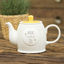 1 Litre Cream Ceramic Bee Happy Beehive Teapot Tea Coffee Serving Pot Decoration