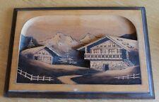 ancien tableau en bois sculpté et signé chalet montagne alpes travail français