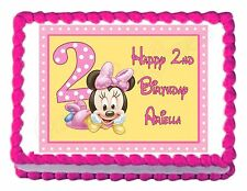MINNIE MOUSE 2ND BIRTHDAY party edible cake image decoration frosting sheet