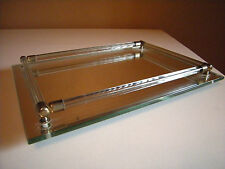 VANITY PERFUME TRAY MIRRORED RECTANGLE LUCITE GLASS DOWELS TOILETRIES DISPLAY