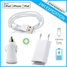 3 IN 1 PACK Charger Cable Chargeur Prise Voiture Wall Brick Car iPhone 5 6 7 8 X