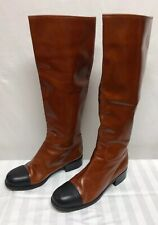 Chanel Brown Black Toe Knee High Tall Back Leather Riding Shoe Boots Sz 40 US 9